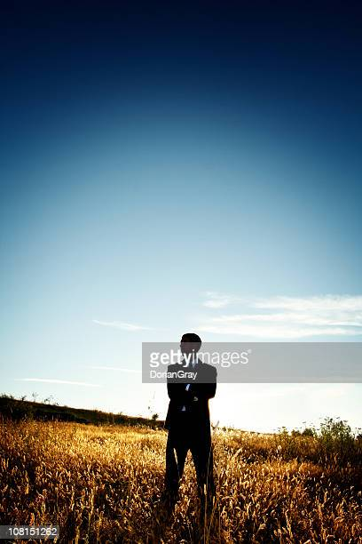 Serious Businessman Standing in Field