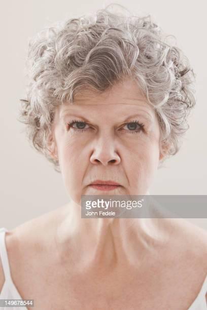 Serious Caucasian woman