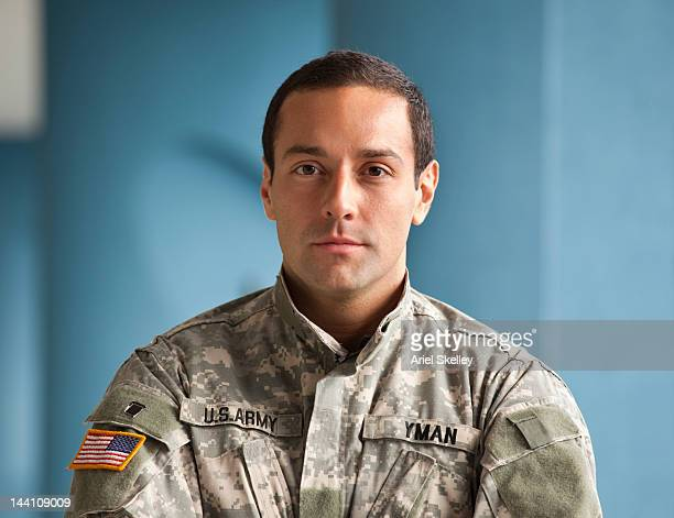 Serious Hispanic soldier in uniform