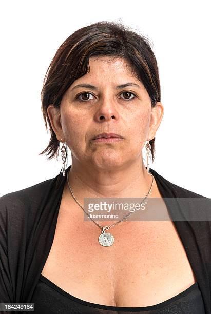 Serious Hispanic woman