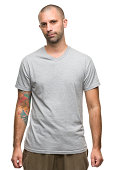 Serious Man in Gray T-shirt