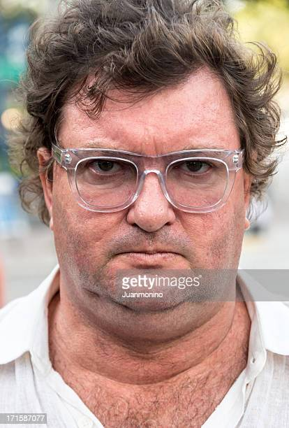 Serious overweight man