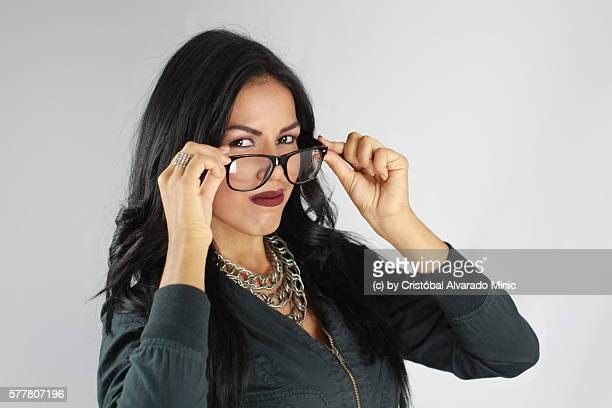 Serious Woman Wearing Sunglasses