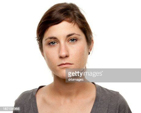 Serious Young Woman Blank Expression Mug Shot Portrait
