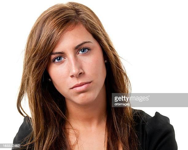 Serious Young Woman Headshot Portrait