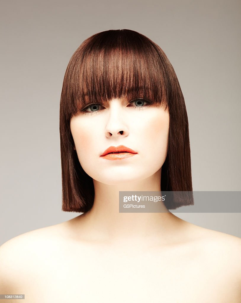 Serious Young Woman With Bare Shoulders : Stock Photo