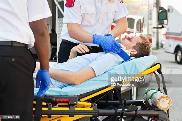 Seriously hurt man at accident scene