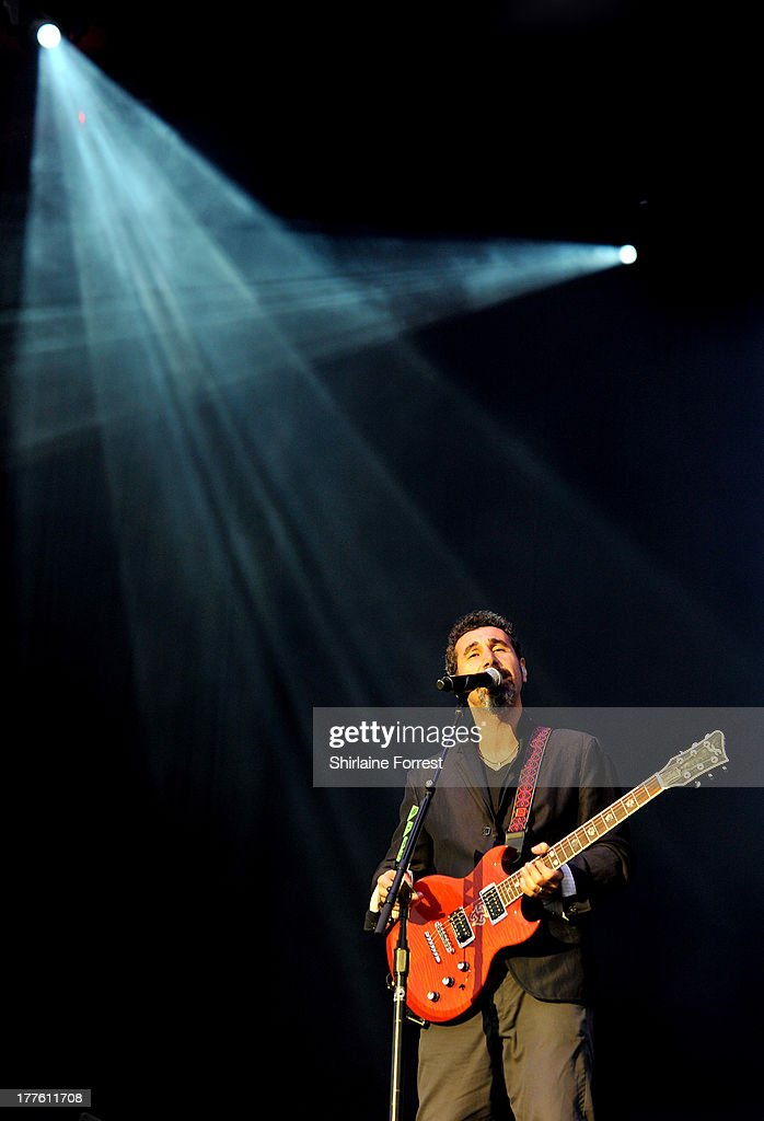 Serj Tankian of System Of A Down performs at Day 2 of the Leeds Festival at Bramham Park on August 24 2013 in Leeds England