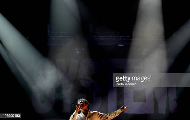 Serj Tankian of System of a Down performs on stage during a concert in the Rock in Rio Festival on October 02 2011 in Rio de Janeiro Brazil Rock in...