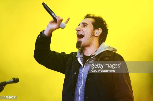Serj Tankian of System Of A Down performs on stage during the second day of Download Festival at Donnington Park on June 11 2011 in Donnington United...