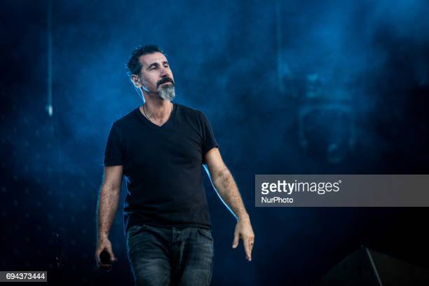 Serj Tankian of the american rock band System of A Down pictured on stage as they perform at Pinkpop Festival 2017 in Landgraaf
