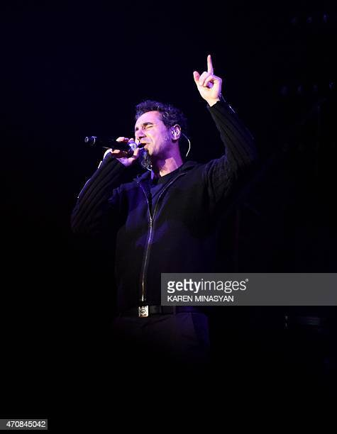 Serj Tankian of the hard rock band System of a Down performs at Yerevan's Republic Square on April 23 2015 Armenians prepare to commemorate on April...