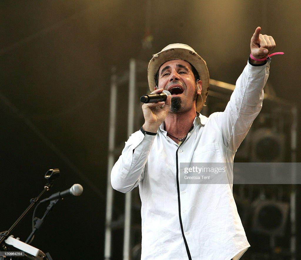 Serj Tankian performs live on day 3 of the 39th Pinkpop Festival on June 1 2008 in Landgraaf Netherlands