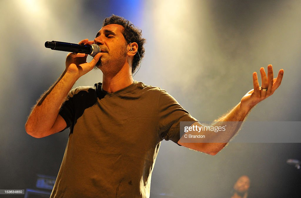 <a gi-track='captionPersonalityLinkClicked' href=/galleries/search?phrase=Serj+Tankian&family=editorial&specificpeople=213215 ng-click='$event.stopPropagation()'>Serj Tankian</a> performs on stage at Shepherds Bush Empire on October 7, 2012 in London, United Kingdom.
