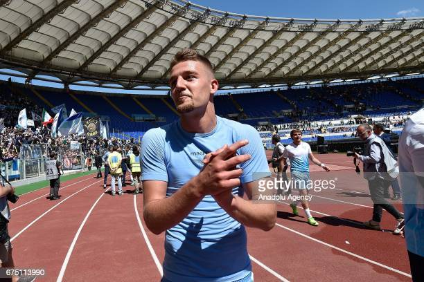 Serjei Milinkovic of SS Lazio celebrates victory after the Italian Serie A soccer match between AS Roma and SS Lazio at Stadio Olimpico on April 30...