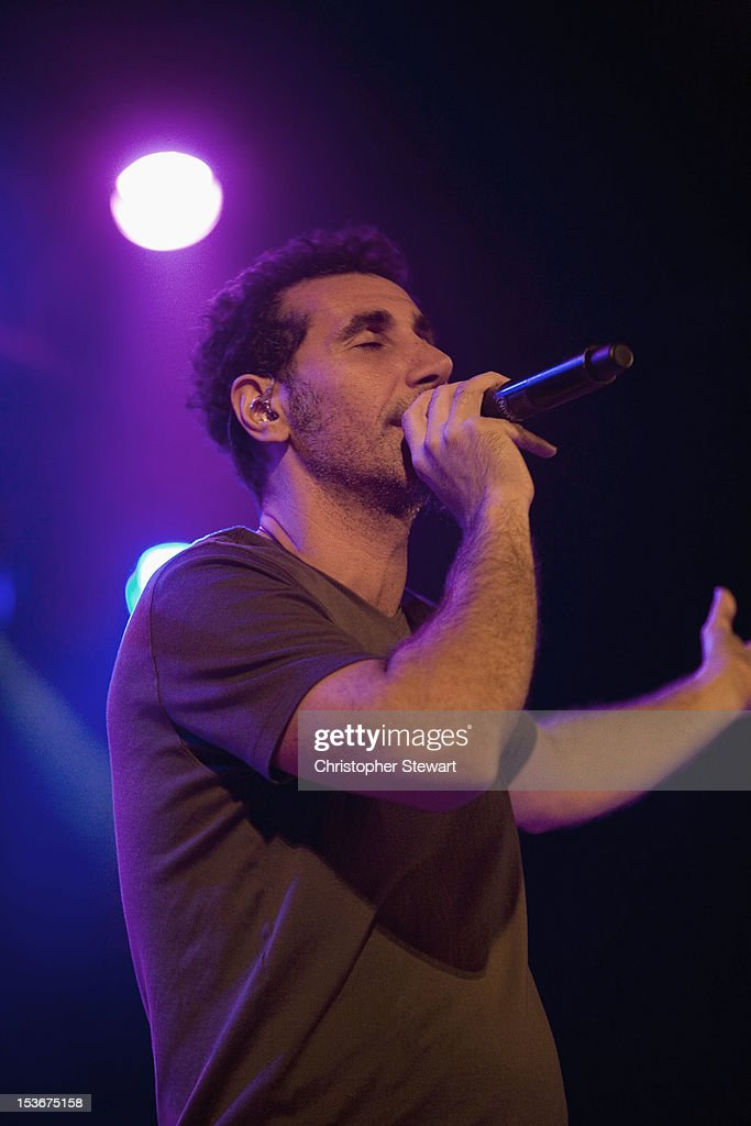 Serji Tankian performs on stage at Manchester Academy on October 8, 2012 in Manchester, United Kingdom.