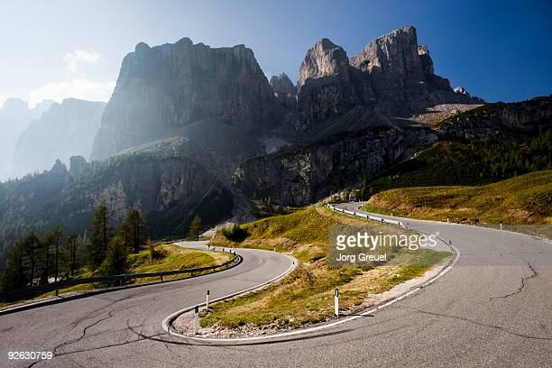 Serpentine road at Gardena Pass
