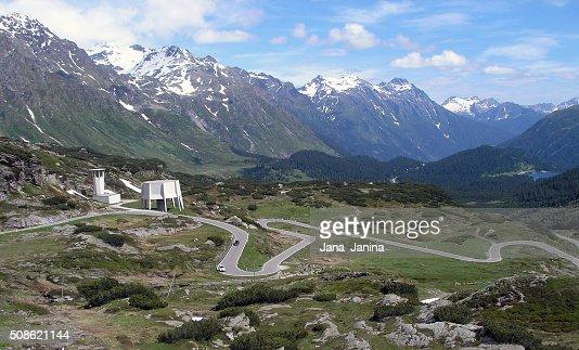 Serpentine road to the St. Bernardino Pass in Switzerland. : Stock Photo