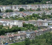 Four streets in the Rhondda Valley South Wales winding up and down the hillside like a serpentine.