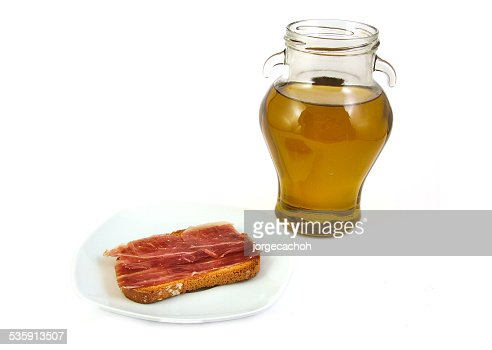 Serrano ham and extra virgin olive oil. Jabugo. Mediterranean diet : Stock Photo