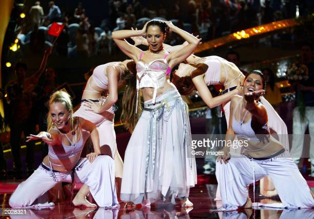 Sertab Erener of Turkey performs 'Everyway That I Can' during the 48th Eurovision Song Contest on May 24 2003 in Riga Latvia Turkey won the contest...