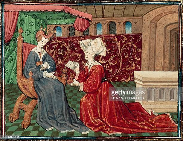 A servant brings Iseult a message miniature from Roman de Tristan by Thomas of Britain folio 71 manuscript France ca 1170