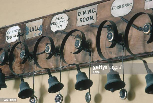 Servants bells in Broughton Castle Banbury November 1984 Broughton Castle is a moated 14th century manor house with Elizabethan additions