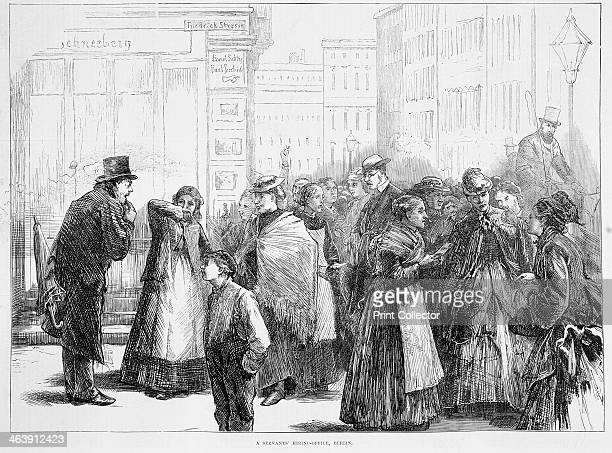 Servants' hiring office Berlin Germany 1874 Illustration showing modestly dressed women at the door of a hiring office talking and showing their...