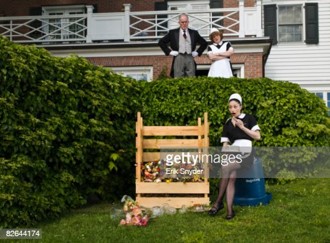 Servants recycling food in compost. : Stock Photo