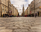 Famous Royal Mile (High Street) of Edinburgh as seen from its clobber stones.
