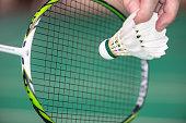 serve badminton with a shuttlecock