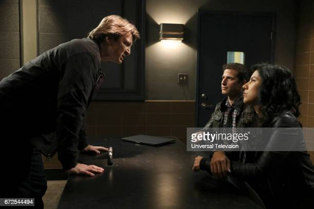 NINE 'Serve Protect' Episode 414 Pictured Nathan Fillion as Mark Devereaux Andy Samberg as Jake Peralta Stephanie Beatriz as Rosa Diaz