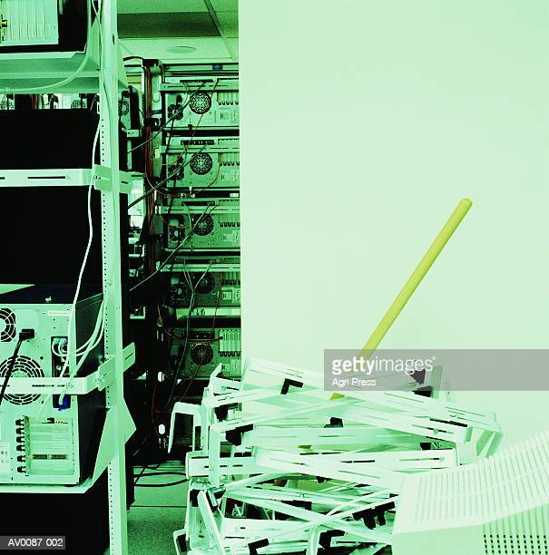 Server room hardware, broom handle (cross-processed)