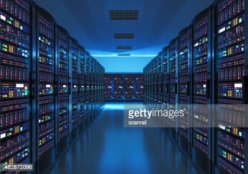 Server room interior in datacenter : Stock Photo