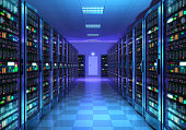 Modern web network and internet telecommunication technology, big data storage and cloud computing computer service business concept: 3D render illustration of the server room interior in datacenter i