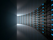 Server room represented by several server racks with strong dramatic light. High resolution 3d render.