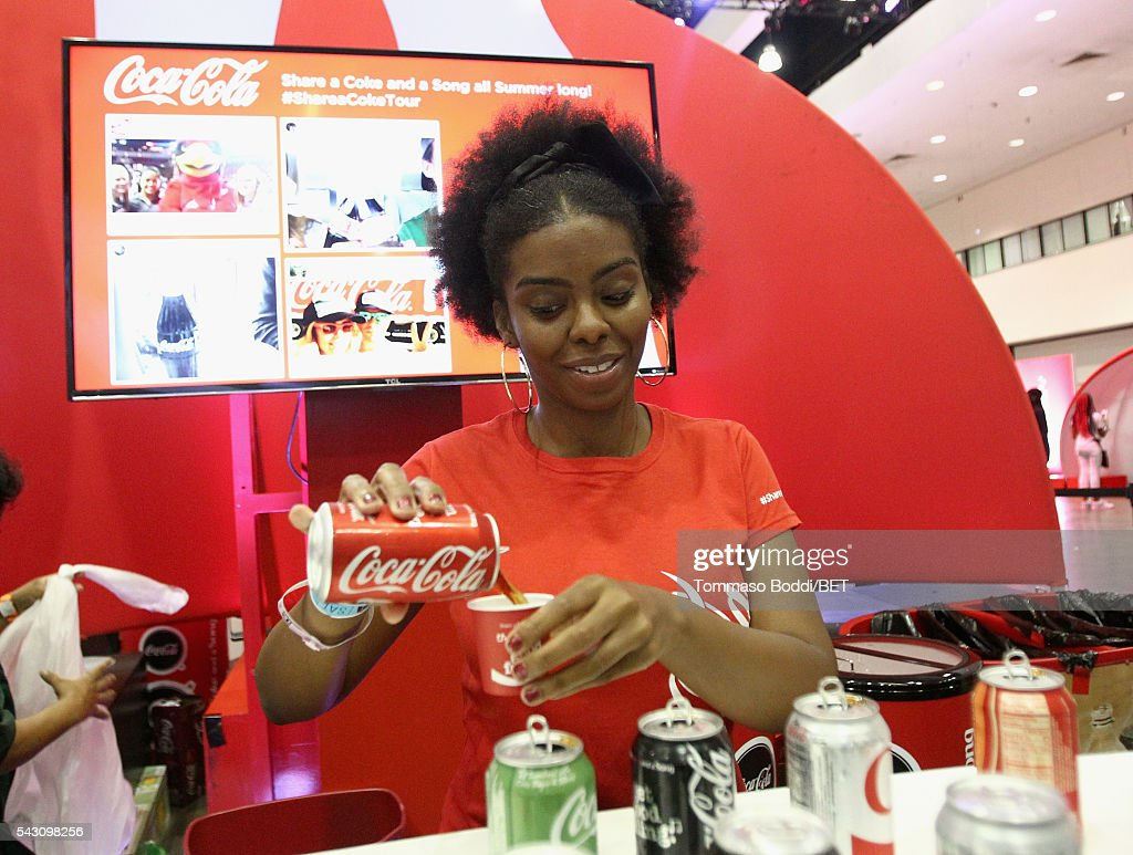 Servers work at the Coke music studio during the 2016 BET Experience on June 25, 2016 in Los Angeles, California.