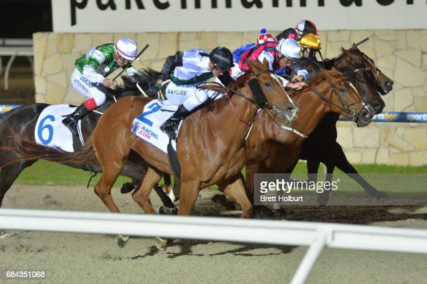 Serveur ridden by Regan Bayliss wins the Racingcom 3YO Maiden Plate at Racingcom Park Synthetic Racecourse on May 18 2017 in Pakenham Australia