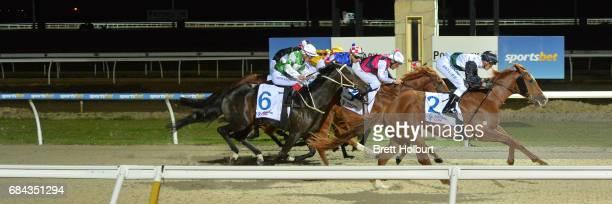Serveur ridden by Regan Bayliss wins the Racingcom 3YO Maiden Plate at Racingcom Park Synthetic Racecourse on May 18 2017 in Pakenham Australia