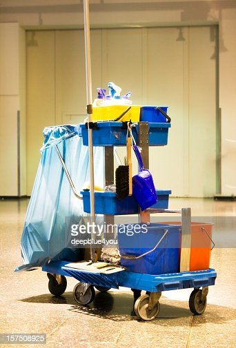 Service cart with cleaning accessories - cleaning kit