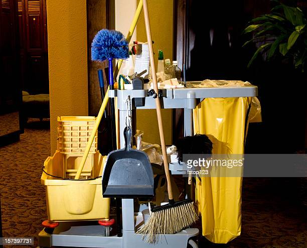 Service: Cleaning cart, supplies in business office or hotel. Housekeeping.