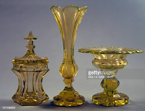 Service consisting of sugar bowl vase and cup in yellow uranium glass 18301840 Harrach glass factory Bohemia 19th century Prague Umeleckoprumyslové...