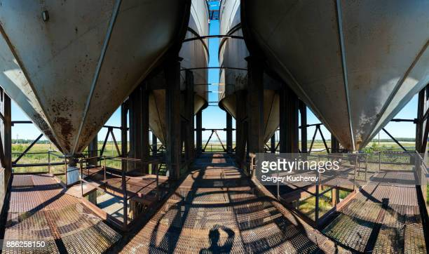 Service deck of an abandoned grain elevator