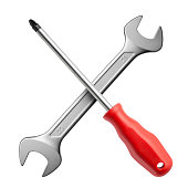 Service Icon. Wrench and screwdriver on white background.