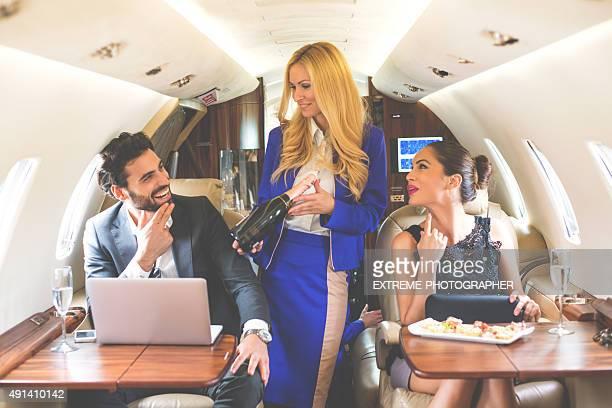 Service in private jet airplane