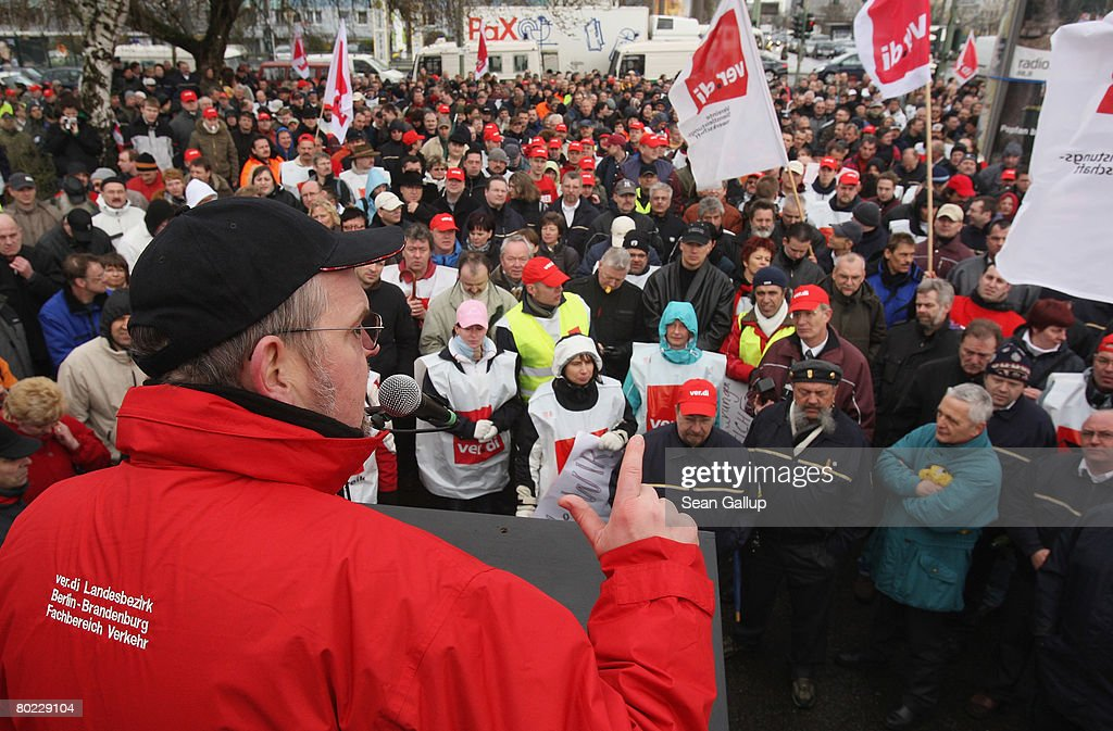 Service industries labour union ver.di transport head Frank Baessler speaks to striking workers of the Berlin public transit authority (BVG) on the ninth day of their strike on March 13, 2008 in Berlin, Germany. Ver.di is representing the workers and pushing for higher wages in negotiations that so far have made little headway. The strike hits Berlin public bus, tram and undergound train services.