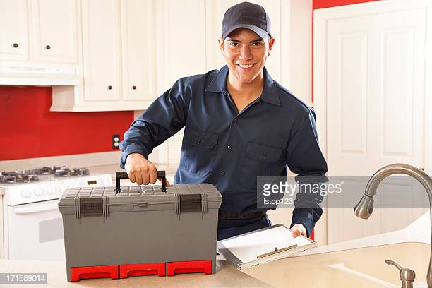 Service Industry: Plumber, repairman arriving for call. Home Kitchen