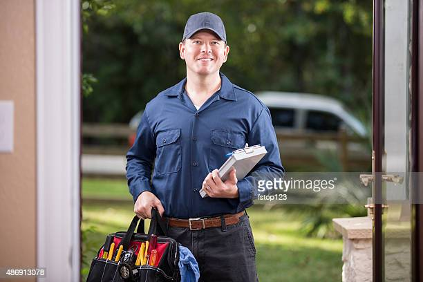 Service Industry: Repairman at customer's front door.