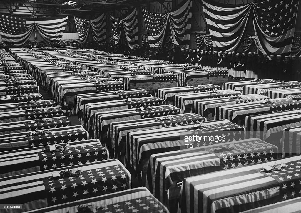 A service is held in Hoboken, New Jersey, for American soldiers who died on the battlefields of France during World War I, circa 1920.