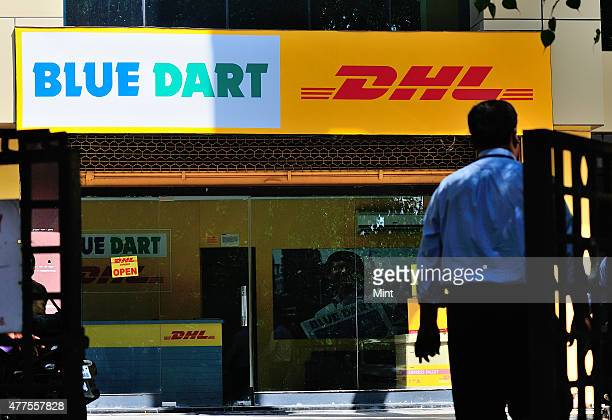 Service outlet of Blue Dart and DHL at courier services at Connaught place in New Delhi India